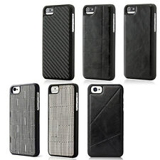 Frame Luxury Leather Chrome Hard Back Case Cover For iPhone 5 5S Black