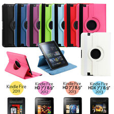 360 Rotating PU Leather Case Cover w Stand For Amazon Kindle Fire HD 7 & 8.