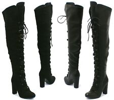 WOMENS BLACK OVER THE KNEE THIGH BOOTS LADIES LONG LACE UP BUCKLE STRAP SHOES