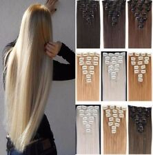 Hair Extensions Full Head 8 piece Clip in on Hair 18 clip Platinum feel as Human