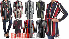 Womens Belted Stripe Button Shirt Dress Retro Crepe Collar Dress Long Blouse Top
