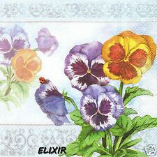 SERVIETTES EN PAPIER PENSEES FLEURS AQUARELLE PAPER NAPKINS WATERCOLOR FLOWERS