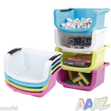 Plastic Stacking Storage Tote Basket Shelves Kitchen Office Desk Counter Bin