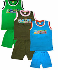 K.G Boy Sleeveless Tshirt Chaddi Set | Combo of 3
