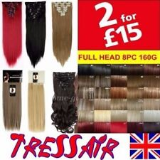 """Hair Extensions Clip in Full Head 18"""" 22"""" Brown Black Red Real Long Straight"""