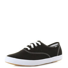 Womens Keds Champion Black Canvas Plimsoll Classic Casual Shoes UK Size