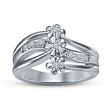 925 Silver White Platinum Plated Beautiful Flower's Ring For Women's