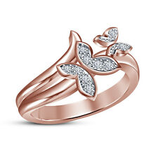 18K Rose Gold Plated Whie Cubic Zirconia Dazzling Butterfly Design Ring