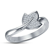 White Platinum Plated 925 Silver White RD CZ Leaf Design Womens Anniversary Ring