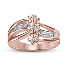 White Cubic Zirconia Rose Gold Plated Flower Design Ring For Women's