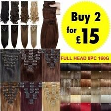 "Hair Extensions Full Head Womens Clip Hair 18 22"" Mega Deal feel real Black Red"