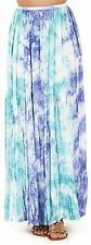 Tie Dye Pastel Green/Blue Pleated Maxi Skirt with Elastic Waistband