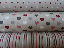 Natural Linen Look / Canvas Fabric, Valentine Hearts, Stripes Spots, Crafts