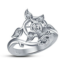 Unique Design BELL Ring 925 Sterling Silver White Platinum Plated RD White CZ 8