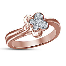 18K Rose Gold Plated White Cubic Zirconia Golrious Flower Design Ring