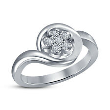 925 Sterling Silver Round Cut CZ White Plated Flower Fashion Wedding Ring