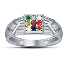 ROund Cut Multicolor Cubic Zirconia Men's Navratna Ring For Gift In 925 Silver