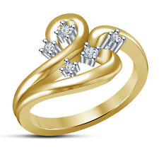 Stunning Five Stone Fancy Women's Ring RD White CZ 14K Gold Plated 925 Silver 8