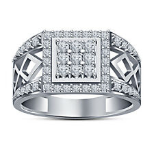 White Platinum Plated 925 Sterling Silver White Round Cubic Zirconia Men's Ring