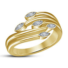 14K Gold Plated .925 Sterling Silver RD White CZ Five Stone Leaf Women's Ring 8