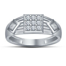 White Rhodium Plated 925 Silver White Round CZ Dazzling  Ring For Men's