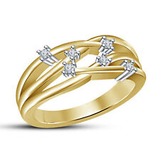 Brilliant Wedding Band Women's Ring RD Cut White CZ 14K Gold Over .925 Silver 8