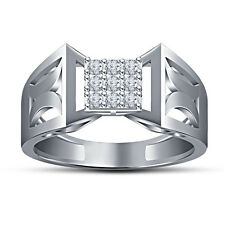 White Platinum Over Pure Sterling Silver RD White CZ Stunning Ring For Men's
