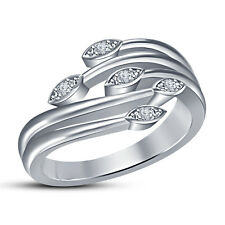 White Platinum Plated 925 Silver Stunning Five Stone Leaf Ring RD Cut White Cz