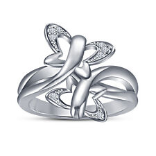 Real Solid 925 Sterling Silver Butterfly Design  W /CZ Platinum Finish For Women