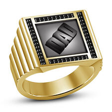 "Black CZ New Men's 14k Yellow Gold Plated 925 Sterling Silver Men's ""DAD"" Ring"