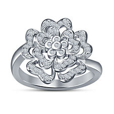 New Indian Design Heart Flower Women's Fancy Ring In 925 Silver Platinum Plated