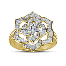 Yellow Gold Plated 925Sterling Silver White RD CZ Women's Beautiful Flower Ring