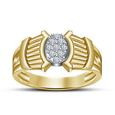 14K Gold Plated 925 Sterling Silver RD White CZ Comely Navratan Ring For Men's
