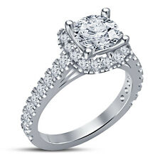 White CZ RD  White Platinum Plated .925 Solitaire With Accents Engagement Ring 7