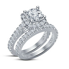 New Platinum Over 925 Silver Solitaire With Accents Bridal Set Ring RD White CZ