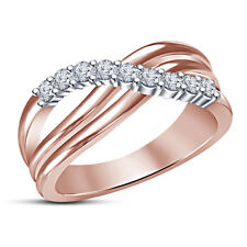 14K Rose Gold Plated 925 Sterling Silver RD CZ Fancy Band Ring For Women's