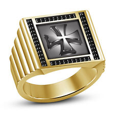 "Black CZ 14k Yellow Gold Plated 925 Sterling Silver Men's ""Cross"" Ring"