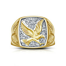 Marvelous Wing's Of Glory Gold Plated Pure Sterling Silver Eagle Ring For Men's