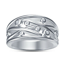 Adorable Wedding Band Women's Ring RD White CZ New Platinum Plated .925 Silver