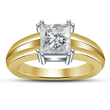 Brilliant Solitaire Women's Ring .925  Silver 14K Gold Fn Princess Cut White CZ