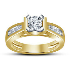 Beautiful American Diamond Gold Plated 925 Silver Solitare With Accents Ring