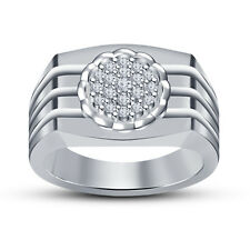 White RD CZ Silver Platinum Plated 925 Sterling Silver Men's Fancy Wedding Ring