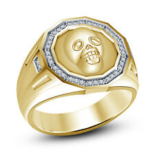 Full Yellow Gold Plated 925 Silver White CZ Marvelous Men's Bikers Skull Ring