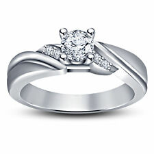 White Gold Finish 925 Silver 1.20 cttw Round Simulated Diamond Engagement Ring