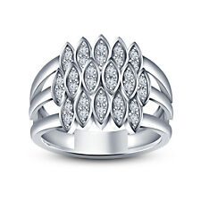 925 Sterling Silver White Platinum Plated RD White CZ Women's New Fashion Ring