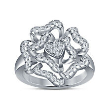 925 Sterling Silver Round Cut CZ Heart And Flower Shape Ring For Women's