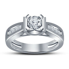Solitaire With Accents Engagement Ring White Platinum Fn 925 Silver RD White CZ