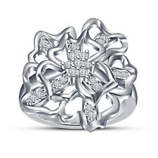White Platinum Plated 925 Silver Simulated Diamond Flower Shape Ring For Women's