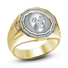 RD White CZ Yellow Platinum Plated 925 Sterling Silver Men's Bikers Skull Ring