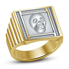 Yellow Gold Fn White CZ 925 Sterling Silver Eye-Catchy Men's Bikers Skull Ring